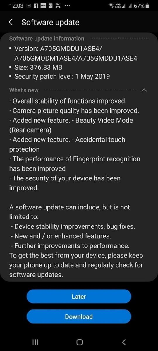 Galaxy A70 received updates.jpg